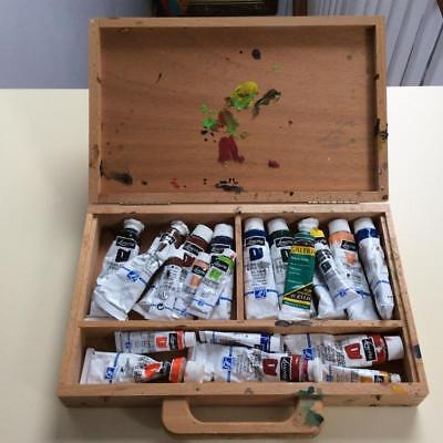 Wooden Art Box + used Louvre Acrylic Paints