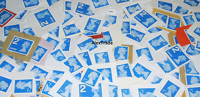 100 x 2nd Class Security Unfranked Stamps On Paper