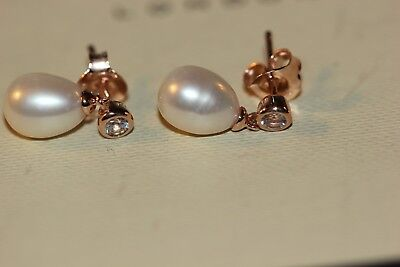 Genuine Links Of London 18 Ct Rose Gold Vermeil White Pearl Earrings - 5040.2434