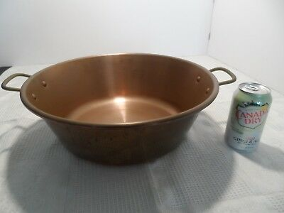 "Vtg Solid Copper Jam Pan Pot 15"" Brass Handles Large"