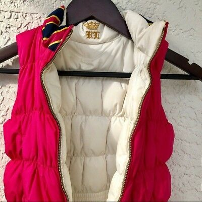 Ralph Lauren Girls Sz 6 Pink Reversible Goose Down Puffer Vest Jacket Belt