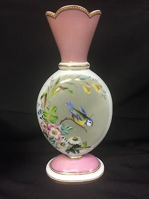Tall Antique French Painted Pink/White Opaline Vase,Bird, Floral, Gilt, c.1850