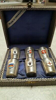 SET of SIX STERLING SILVER SHOT GLASSES MADE IN GERMANY IN BOX