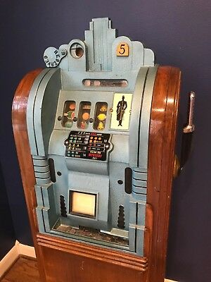 Vintage Mills Extraordinary Page Boy Nickel Slot Machine, Original & Working.