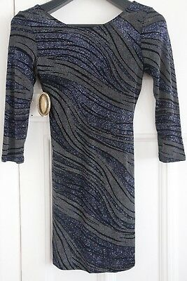 Topshop Navy Black Backless Sparkly Embellished Mini Dress Bodycon Size UK 8 10
