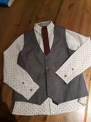 Boys Grey Next Signature Suit - Trousers, Waistcoat, Shirt And Tie - 8 Years