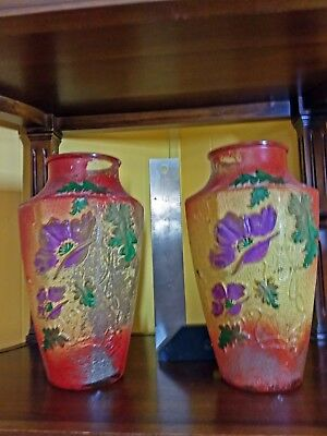 """PAIR Goofus Glass, 8 sided, Vases, appx. 9"""", lots of original paint remaining"""
