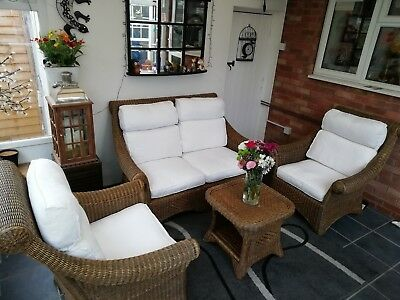 Wicker Conservatory Furniture - Sofa, 2 Chairs and Table