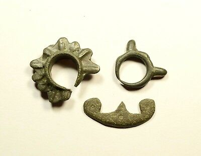 LOT OF 3 ANCIENT BRONZE CELTIC PRE COIN AGE PROTO MONEY - exchange before coins