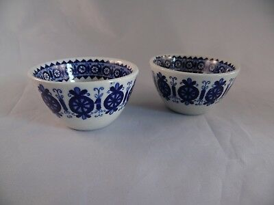 Arabia Finland Set of 2 Blue & White Taper Candle Holders
