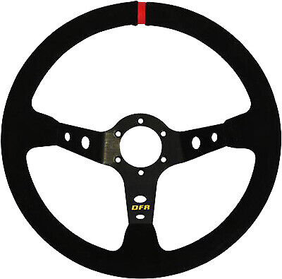 DragonFire Round Steering Wheel 6-Bolt with 2.5in. Offset - Suede/Black 04-0001
