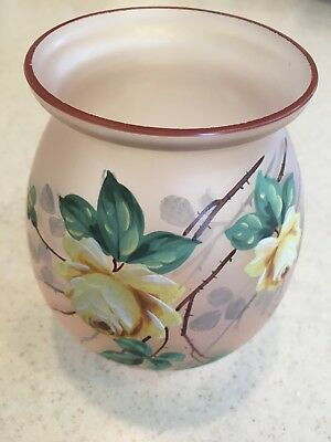 Vintge pink frosted glass vase with hand painted yellow flowers