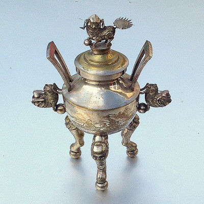 Late Qing Dynasty or Chinese Republic Silver Plate Tripod Censer Mythical Beasts