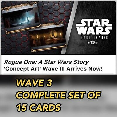 ROGUE ONE CONCEPT ART WAVE 3 COMPLETE SET OF 15 CARDS Topps Star Wars Digital
