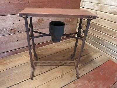 Vintage Antique RARE Bench Wire Chair Twisted Iron Legs Wood Seat Vanity Bench!