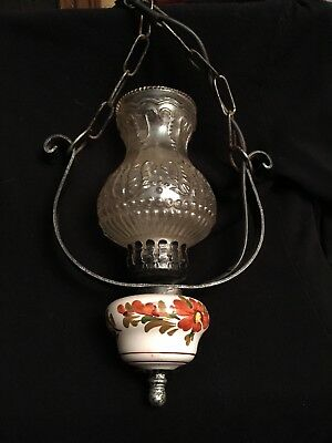 Vintage Metal, Pottery & Glass And Hanging Electric Lamp with ceiling attachment