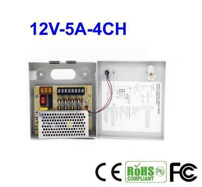 Power Supply Switch Box 4CH Output DC 12V 5A Switching For CCTV Camera