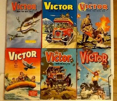 Lot of 6 'The Victor Books for Boys' Annuals Issues 1970s to 1981