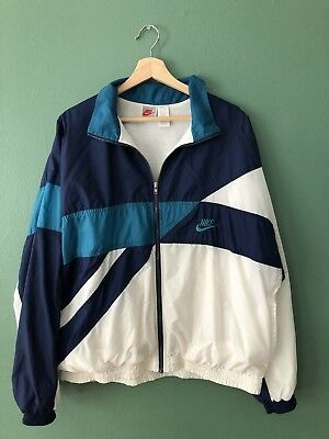 Vintage Nike Air 90's Turquoise Navy Color Block Grey Tag Windbreaker Size - XL