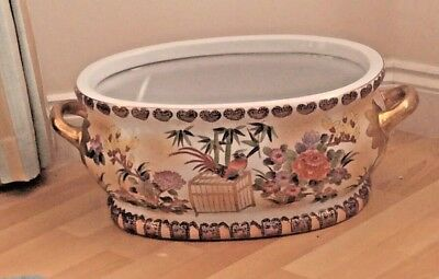 ORIENTAL PORCELAIN FOOT BOWL / PLANTER WITH ENAMEL and  MORIAGE DECORATION