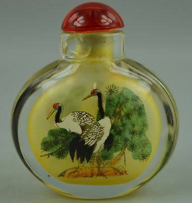 Decorate Collect China Glass Inside Paint Pine Crane Rare Lucky Snuff Bottle