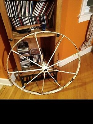 "Vintage Antique 1800's Hand Made 30"" Metal 9 Spokes Wagon Wheel Cast Iron"