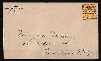Canada QV Pre Cancel On Cover 1 Cent Yellow (G2)