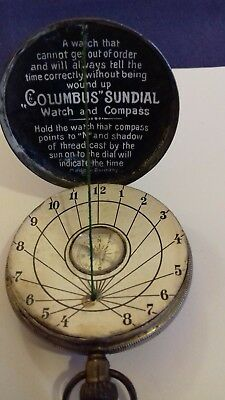 Unusual antique/vintage white metal 'Columbus' pocket Sundial watch and compass