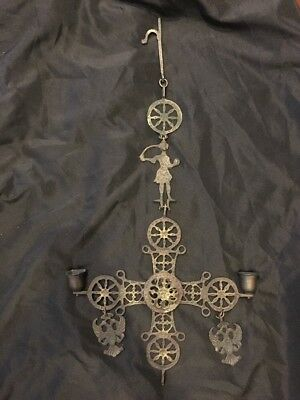 Vintage Metal Cast Iron Folk Art Greek Orthodox Cross Candelabra Candle Holder