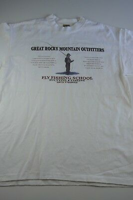edc0f0d5 Vintage Fly Fishing School Lure Graphic T-Shirt Size L white rocky  mountains UAS
