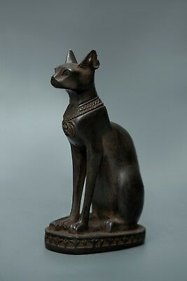EGYPTIAN BASTET ANTIQUITIES GODDESS Pharaoh Ubasti Cat Egypt Statue carved Stone
