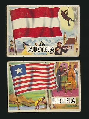 Lot of 2 1956 Topps Flags of the World cards Liberia and Austria