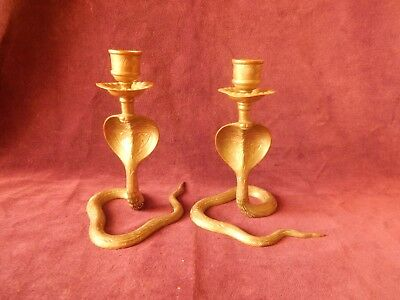 Pair Of Vintage Brass Serpent / Snake Candlesticks / Candle Holders Old