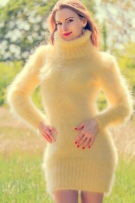 Yellow sweater hand knit dress mohair sexy fuzzy tunic summer top