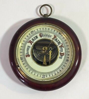 Vintage German JG Gischard aneroid brass wall barometer mahogany wood casing