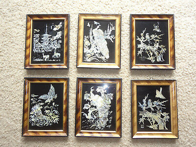 VINTAGE LOT OF 6 FRAMED KOREAN WALL ART-  Mother of Pearl Abalone Shell Inlay