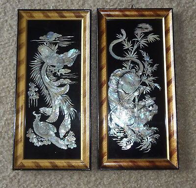 Vintage Set Of 2 Korean Framed Wall Art-Mother Of Pearl Abalone Shell