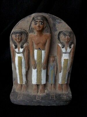 EGYPTIAN STATUE ANTIQUE FAMILY Group Sculpture STELA RELIEF EGYPT STONE 2040 BC