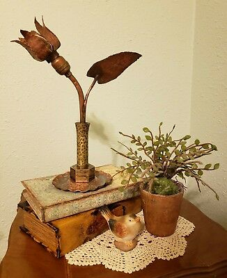 Antique Hammered Copper and Brass Accent or Night Lamp