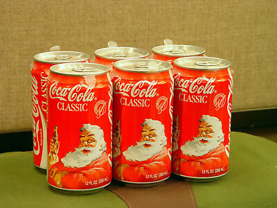 Vintage Coca-Cola Santa 1990s 6-pack unopened empty Christmas classic Coke can