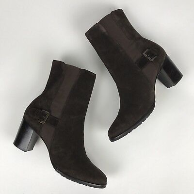 c66f109dde9 COLE HAAN BROWN Suede Heeled Ankle Buckle Boot Sz 8.5 B, Style D25458