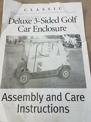 Classic Fairway Deluxe 3-Sided Golf Car Enclosure Golf Cart - Tan