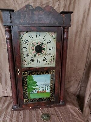 Rare Hiram Welton Miniature Wooden Works Time & Alarm  Woodworks Movt. Case All