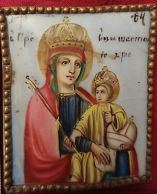 ANTIQUE 19c FINIFT RUSSIAN ICON OF THE MOTHER OF GOD