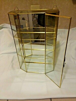 Vintage Brass & Glass Mirrored Display Case Curio Cabinet Table Top or Wall Hang