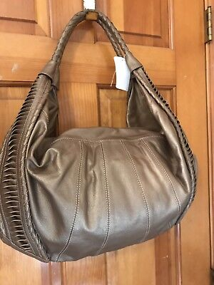 Clever Carriage Company St. Tropez Handcrafted Leather Hobo NEW RET$379 METALLIC