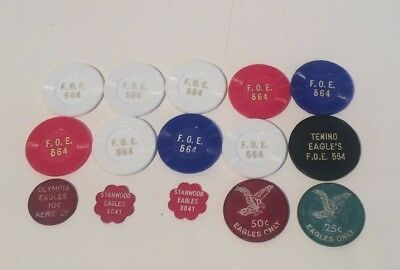 Lot 15 WA Washington State Eagles FOE Beer Tokens Olympia Seattle Rain  Check