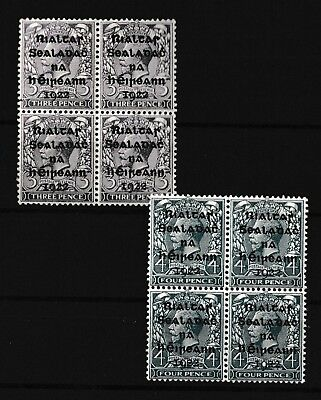 Ireland Blocks Of 4 KGV MNH 3D And 4D Different Settings (G17)