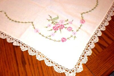 Embroidered Pink Floral Tablecloth Table Topper