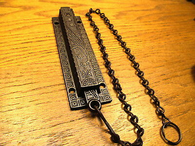 Old Spring Loaded Double Door...french Door  Pull Chain Lock...latch...